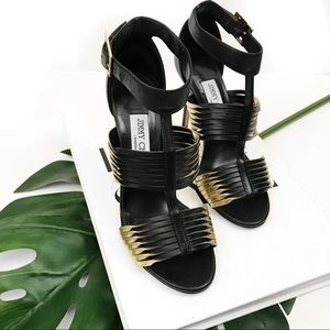 Jimmy Choo black and metallic twisted leather heel